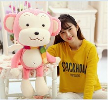big lovely scraf monkey toy plush monkey doll pink monkey toy birthday gift about 70(China)