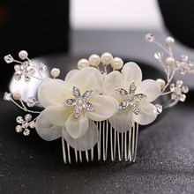 1Pc Bridal Crystal Pearl Hair Comb Hair Clip Wedding Party Flower Headpiece White Hairwear Jewelry Brides Jewelry Nice Gift(China)