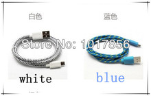 FREE SHIPPING UPS 1M 5000pcs braided wire Mirco USB 5 pin Data Sync Cable for Samsung s3 s4 Woven Fiber Knitted Nylon Cords fede