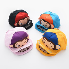 Baby cartoon monkey hat cap children's baseball cap double eaves boy kids sun hat lovely snapback girl summer cap black yellow