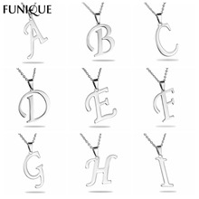 "FUNIQUE Brand Charms Stainless Steel 26 Alphabet ""A-S"" Letter Pendant Silver Tone Necklace Pendant For Women Men Jewelry Making"