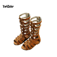 Yorkzaler Girls Roman Sandals High Quality Black Brown Kids Sandals Gladiator Roman Boots Summer Fashion Toddler Sandals Shoes