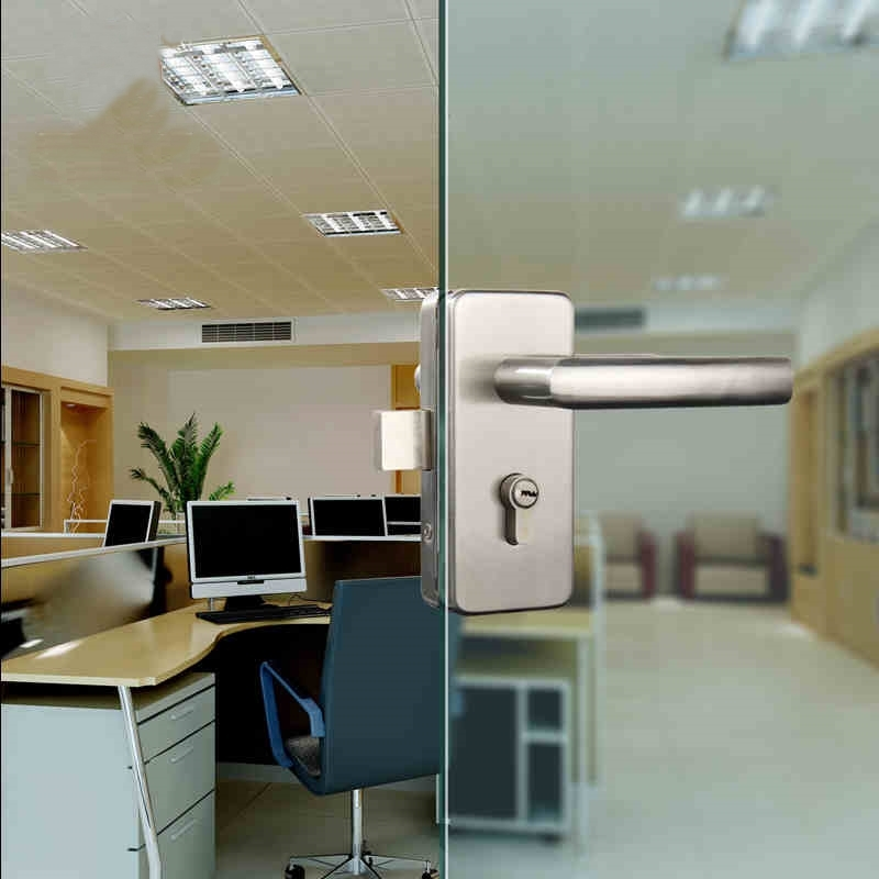 zinc alloy glass swing single door handle lock kit<br>