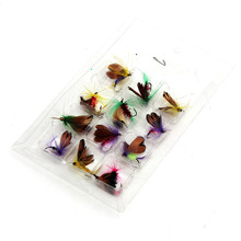 12pcs/lot Fly Fishing Hooks Fishing Lure Feather Steel Bait Insect artificial Carp Fishing Tackle Box accessories tool