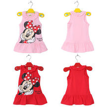 New 2016 Baby Girl Summer Dress Girls Minnie Mouse Pink Red Dress Girl's Casual Party Dress