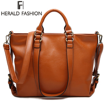 Buy Herald Fashion Women Lichee Tote Bag Pu Messenger Bag Dual Side Buckle Belt decoration Handbag Fashion Ladies Shoulder Bag for $20.90 in AliExpress store