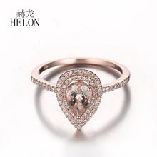 HELON Worth It!10K Rose Gold Pear 0.52 ct Morganite Pave Natural Diamonds Engagement Wedding Ring For Women's Jewelry Fine Ring