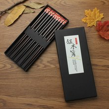 Hot Sale Chopsticks 5 pair Japanese Wooden Bamboo Chopstick Gift Set Red Black Handle Design Couple Chopsticks With Case