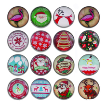 10pcs/lot high quality holiday Halloween Christmas 18mm Snap Button Jewelry Glass Charms Fit DIY Bracelet Snaps Jewelr