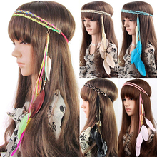 Bluelans Women Lady Double Layers Braided Hairband Colorful Feather Leaf Pendant Head Band(China)