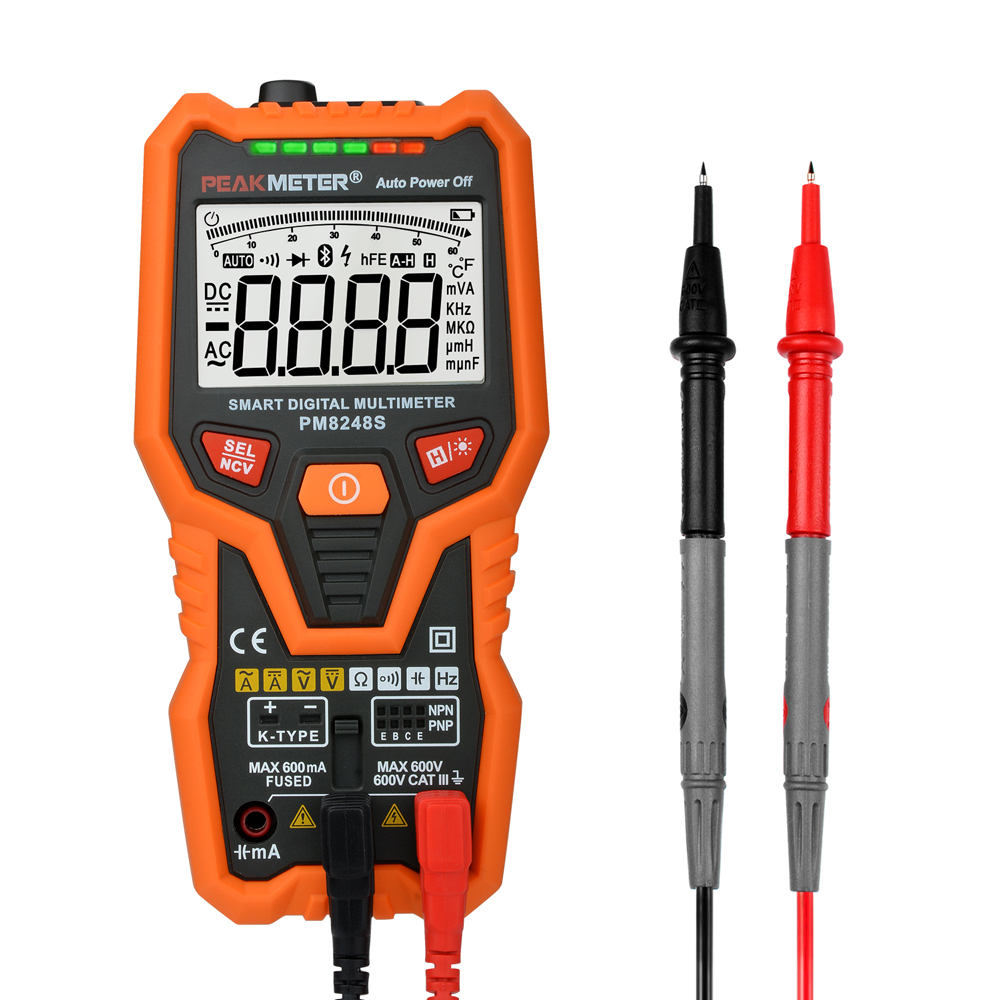 PM8248S Smart AutoRange Professional Digital Multimeter Voltmeter with NCV Frequency Bargraph Temperature Transistor test<br>