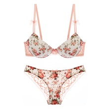 Buy Japanese Style Underwear Women Floral Print Pink Cute Ladies Lingerie Set Push ABC Small Thick Cup Bra Lace Panty Sets