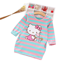 2017 New Summerhello Girls Striped Dress Baby Children Wearing Kitty Cartoon Children's Clothes For Girls' Clothes 2-8y Childre(China)