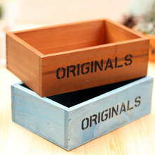 Free shipping zakka wood small bonsai pot plants vase flower container Pots Retro do the old wooden box wooden flower pot timber