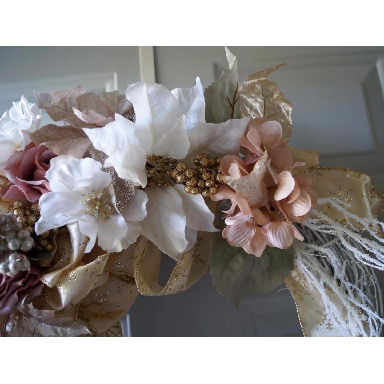 Christmas Wreath, Holiday Wreath, Winter Wreath, Gold Christmas Decor (5)