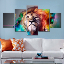 Lion Eagles Painting Wall Pictures For Living Room 5 Pieces Animal Posters and Prints Home Decoration Canvas Art No Frame(China)