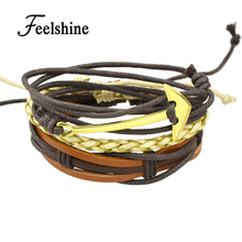 Punk Rock Multi Layer Chain Men Bracelets Plaited Rope Coffee Brown Pu Leather Wrap Bracelets Bangles for Women and Men