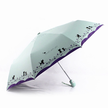 Cat And Flowers Umbrella Rain Women Automatic Three Folding Ultralight Windproof Pocket Umbrellas Kids Lovely Painting Parasol