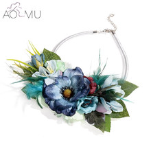 AOMU Colorful Fabric Rose Flower Choker Necklace For Women Statement Collar Vintage Jewelry Sash Belt(China)