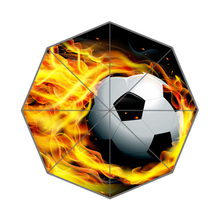 Hot Football On Fire Customized Portable Folding Travel Design Rain and Sun Beach Umbrellas Hat Unique Parasol Umbrella(China)