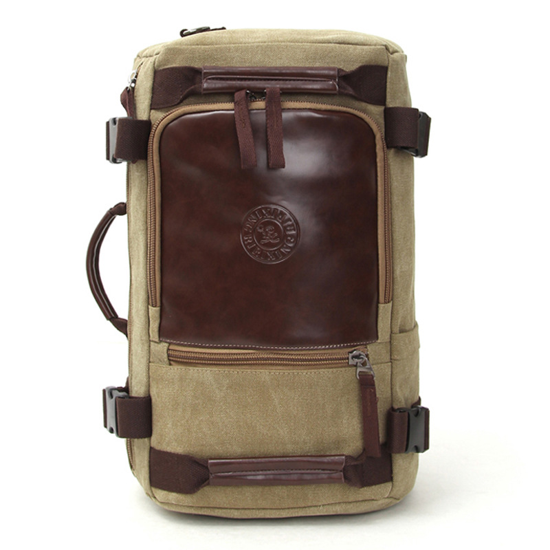 Mens Stylish Travel Large Capacity Canvas Backpack Male Wear Resisting Material Luggage Double Shoulder Bags 5 Color Optional<br>