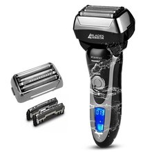 110v/220v professional 4 blade rechargeable electric shaver for men wet&dry 3D electric razor beard face shaving machine(China)