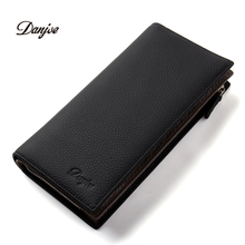 DANJUE New Arrival Men Wallets Long Genuine Leather Brand Big Capacity Purse First Layer Cowhide Man Day Clutches Bag