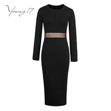 Buy Young17 bodycon sweater dress 2017 women solid black office sexy dress long sleeve hollow o neck sexy female bodycon dresses for $14.83 in AliExpress store
