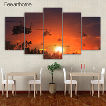 5 piece canvas art helicopters sunset rosy skey home decor wall pictures for living room prints free shipping XA1579A(China)