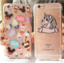 Transparent Cute Cartoon Mouse Unicorn Case Cover For Apple iPhone 6 6S Plus Case Silicone 6 Series Glitter Ice Cream Case