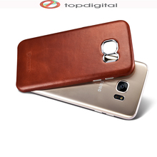 icarer Retro Genuine Leather Case for SAMSUNG Galaxy S7 S7 edge Cover Case Back Hardcase Leather Aluminum Women Men(China)
