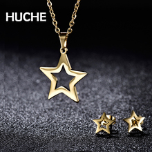 HUCHE Cute Stainless Steel Star Jewelry Sets With Necklace And Earrings For Women & Girls Gift For Best Friend HYJBT55a(China)