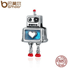 BAMOER Fashion New 100% 925 Sterling Silver Cute Robot Heart Charms fit Charm Bracelets for Women Sterling Silver jewelry SCC346(China)