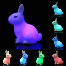 LED Night Light Tiny Small Rabbit Lamp Color Changing Button Switch Children Kid Favor Gift Toy Bedroom Cafe Decor Lighting