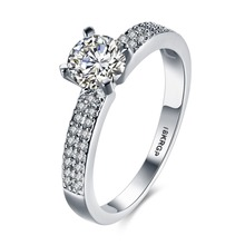 Wow!! Top quality for new Store Hot Selling 18KGP wihte gold colour Micro Inlay Cubic Zircon Wedding Rings(China)