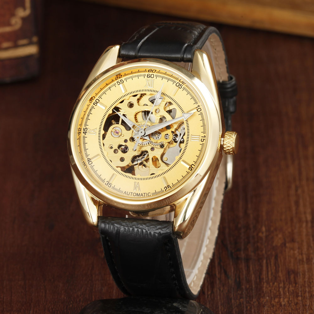 GOER Top Brand Luxury Mens Mechanical Watches Luxury Gold Skeleton Automatic Mechanical Wrist Watches For Men Men Wristwatch<br><br>Aliexpress