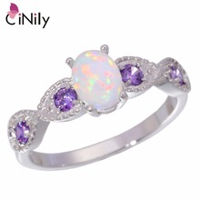 CiNily Created White Fire Opal Purple Zircon Silver Color Wholesale Hot Sell Wedding for Women Jewelry Ring Size 5-12 OJ8044(China)