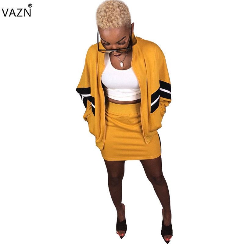 VAZN 2019 Autumn High Quality Slim Sexy Women 2 Piece Set Solid Loose Full Sleeve Slim Mini Skirts Lady Bodycon Set SN3236