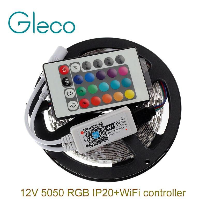 DC12V 5050 RGB LED Strip Set 60LED/m 5M LED Strip 5050 RGB LED tape + Mini 24Key WiFi RGB LED Controller<br><br>Aliexpress