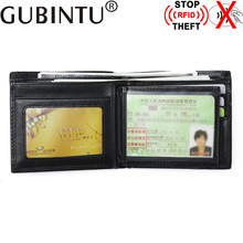 Buy GUBINTU Brand Genuine Leather Wallet Stop RFID Men Wallets RFID Protection Purse Male Carteras Card Holder for $9.64 in AliExpress store