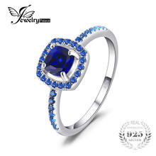 JewelryPalace Fashion 2 ct Square Created Sapphire & Blue Spinel Engagement Rings For Women 100 925 Sterling Silver Fine Jewelry(China)