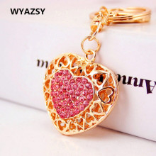 Fashion Creative Hollow Crystal Peach Heart keychain Hot Sale Charms Pendant Women Handbag key ring Key Bag Gift Free Shipping