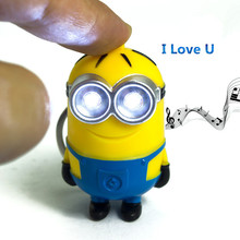 Dropshipping Minions Led Keychain Mini Figure Led flash light 3D Minion Toys Fancy Cute Doll Keychains For Kid Party Gift(China)