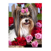 Rose Puppy 5D DIY Embroidery Diamond Painting Animal Cross Stitch Mosaic Needlework Home Decor Craft(China)