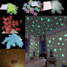 100pcs 3cm diameter 3D Stars Glow In The Dark Luminous Fluorescent Plastic Wall Stickers Home Decor Decals 5 Color Choose