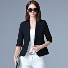 Casaco Blazer Feminino 2017 Korean Fashion Summer and Autumn Thin Jacket Women Single Button Short Slim Blazers Black/White/Pink(China)
