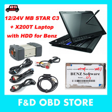 For Mercedes Diagnosis Tool MB Star C3 With 2015.07 Version Software HDD in X200T laptop sd c3 Multiplexer car diagnostic device(China)