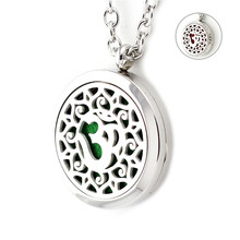 New Silver OM Yoga Lotus Aroma Pendant 30mm Magnetic 316L Stainless Steel Essential Oil Diffuser Locket Necklace For Women(China)