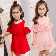 summer 2-8 years old child clothes girl lace dress baby off the shoulder cotton dresses children clothing kids dress