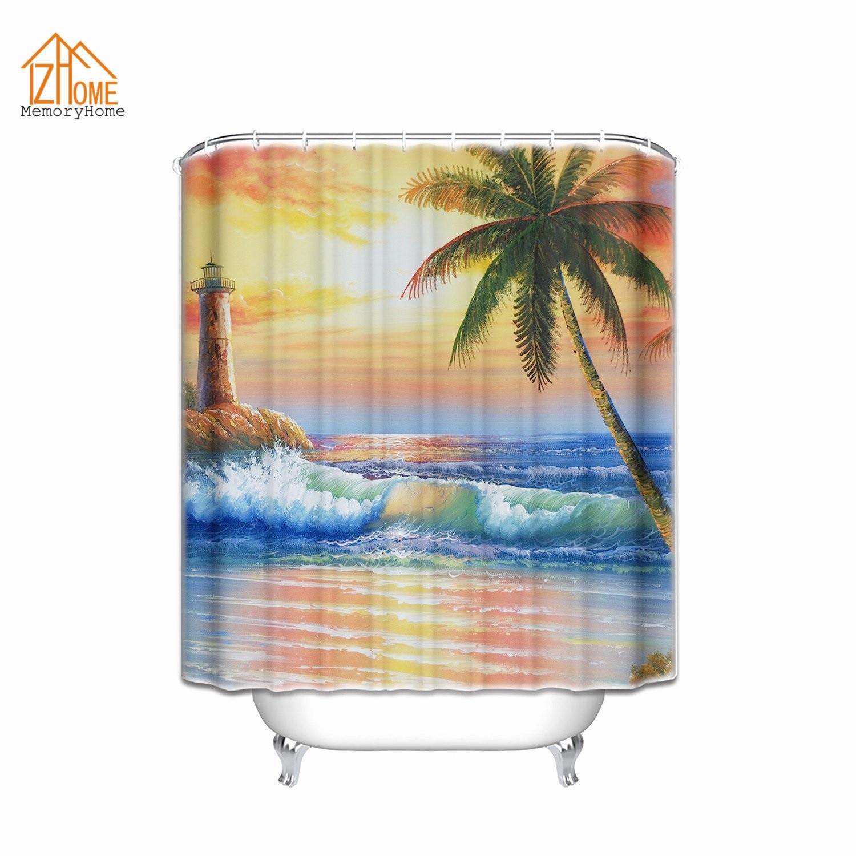 Palm shower curtain - Memory Home Custom Painting Sea Waves Palm Trees Island Lighthouse Sunset Sky Design Waterproof Bathroom Fabric Shower Curtain